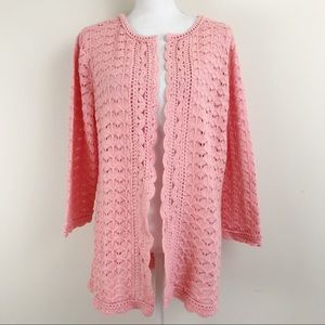 Isaac Mizrahi Open Front Cardigan Sweater Pink New